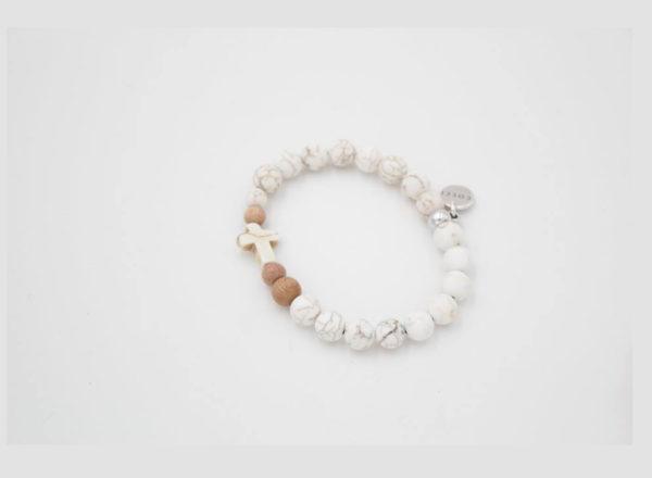 Paix Bracelet Howlite Bois de rose